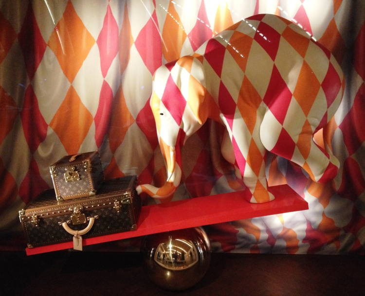 Louis Vuitton window display elephant