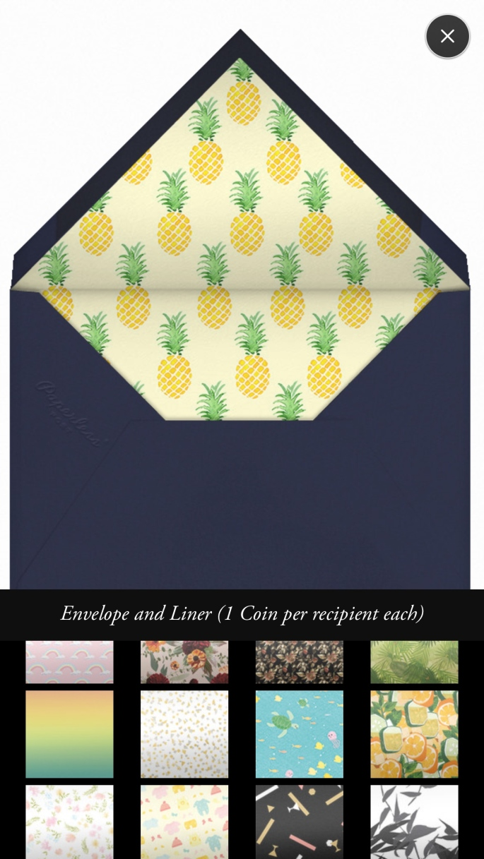 Paperless post envelope liners